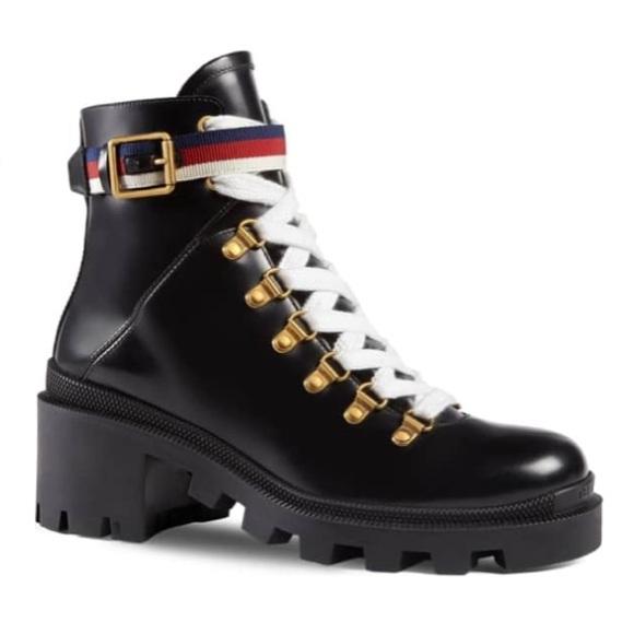 bcabd0e163d Gucci Shoes - Gucci Leather Ankle Boot Sylvie Web Combat Boots